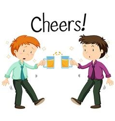 Two men drinking beer vector image vector image