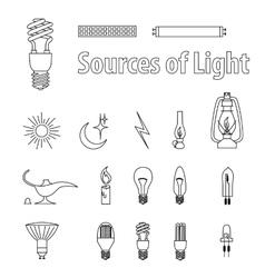 Vintage light bulbs source vector