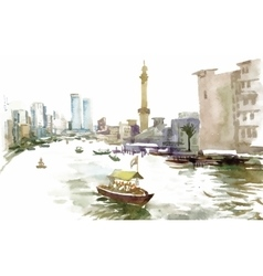 Watercolor city canal with boat vector image