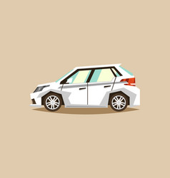 White car hatchback side view transport for vector