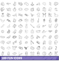 100 fun icons set outline style vector image