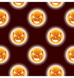 Halloween seamless pattern with moon scary faces vector