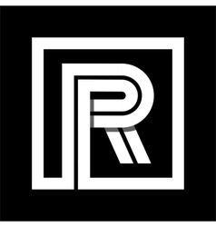 Capital letter r from white stripe enclosed in a vector