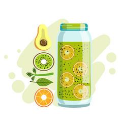 Avocado orange and kiwi smoothie non-alcoholic vector