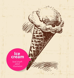 Vintage sweet ice cream background vector
