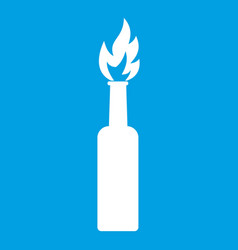 Burning bottle icon white vector