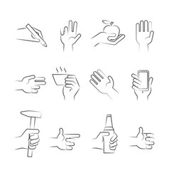 Hand drawn hand icons with tools and other objects vector
