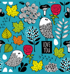 Endless background with doodle birds and nature vector