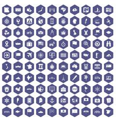 100 cartography icons hexagon purple vector