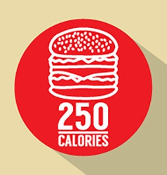 Single hamburger 250 calories symbol vector