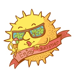 Sun character with ice cream vector