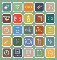 Health line flat icons on green background vector