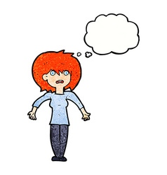 Cartoon woman shrugging shoulders with thought vector