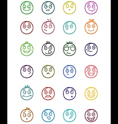 24 smiles icons set 1 vector