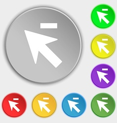 Cursor arrow minus icon sign symbols on eight flat vector