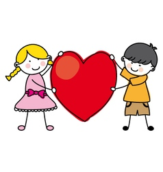 Children holding a heart vector