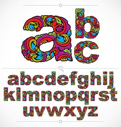 Floral font hand-drawn lowercase alphabet letters vector