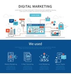 Digital marketing banner set vector