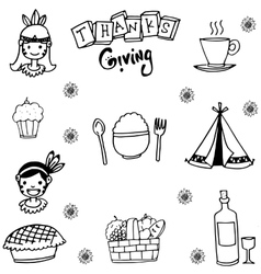 Element thanksgiving flat in doodle vector