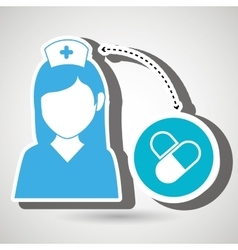 Nurse and medicine isolated icon design vector