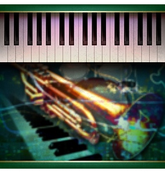 abstract grunge green background with piano and vector image