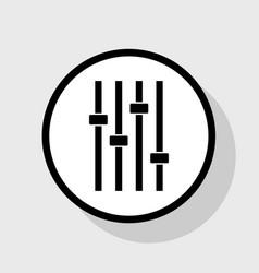 Adjustment music line sign flat black vector