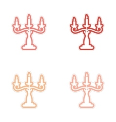 Assembly sticker candelabra and candles on a white vector
