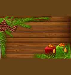 Background template with pinecones and present vector