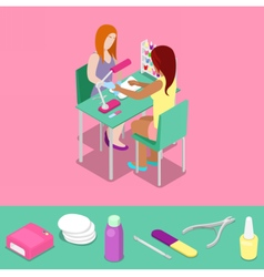 Beauty salon master makes girl manicure isometric vector