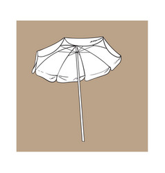 black and white open beach umbrella sketch style vector image
