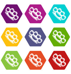 Brass knuckles icon set color hexahedron vector