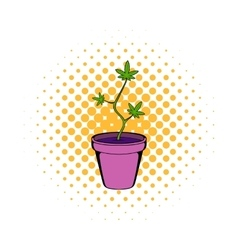Cannabis plant in a pot icon comics style vector image