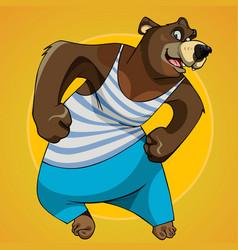 Cartoon character big bear posing in sportswear vector