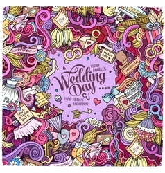 Cartoon cute doodles hand drawn wedding vector