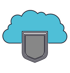 cloud storage data protection shield icon colorful vector image