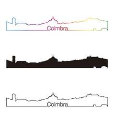 Coimbra skyline linear style with rainbow vector image