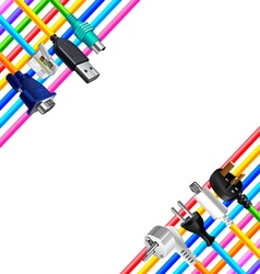 Colorful cables and plugs in corners isolated vector