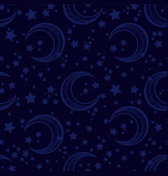 Crescent moon seamless pattern with stars vector