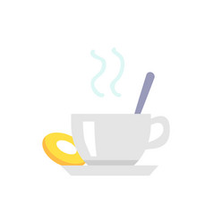 Cup of tea or coffee and cookie on plate icon vector