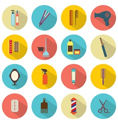 Flat Design Hairdressing Icons Set 16 vector image vector image