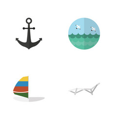 Flat icon summer set of deck chair ship hook vector
