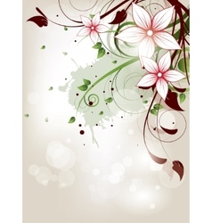 Floral spring background with flowers and swirls vector image vector image