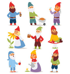 Gnome garden set funny little character cute fairy vector