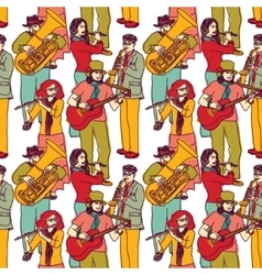 Group street musicians seamless color pattern vector image vector image
