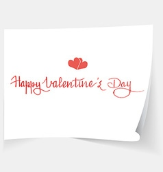 Hand written quote Happy Valentines day two hearts vector image vector image