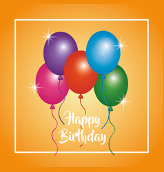 Happy birthday glowing balloons poster party vector