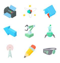 Intellectual icons set cartoon style vector