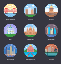 Pack of world cities 6 vector