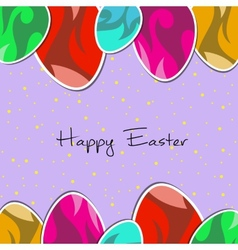 paper eggs Happy easter card violet vector image vector image