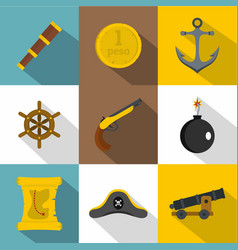 Pirates element icon set flat style vector
